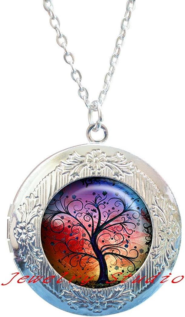 Rainbow Tree of Life glass Locket Pendant, tree of life jewelry, tree of life Locket Necklace, tree jewelry, rainbow tree Locket Necklace, rainbow jewelry-HZ00410