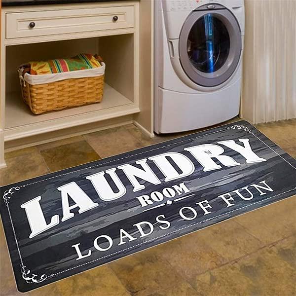 洗衣房负载的乐趣地毯地垫洗手间泥室防滑橡胶防水厨房垫 20x48 黑色