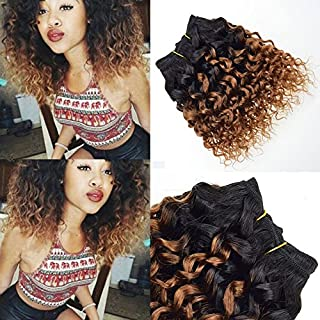 4 Pcs T1B/30 Afro Kinky Curly Ombre Blonde Hair Extensions Short Bob Human Hair Curly Weave Virgin Brazilian Hair Weave Bundles 8 Inch