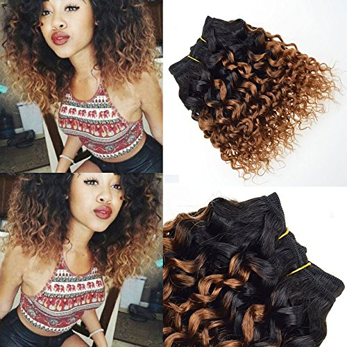 Brazilian 9A 8inch 4 bundles Brazilian Virg in kinky Curly Remy Human Hair Extension Ombre color Brazilian Virgin Human Hair Kinky Curly Hair(8inch,4pcs,#T30)