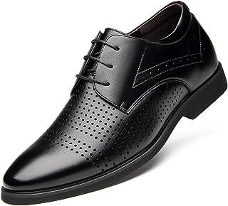 [モリケイ] シークレットシューズ 紳士靴 レースアップ メンズ ビジネスシューズ パンチング プレーントゥ 革靴 通気性 幅広 3EEE 防滑 疲れにくい コンフォート ドレスシューズ メンズシューズ 春夏 事務所