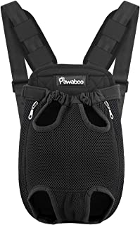Pawaboo Pet Carrier Backpack, Adjustable Pet Front Cat Dog Carrier Backpack Travel Bag, Legs Out, Easy-Fit for Traveling Hiking Camping for Small Medium Dogs Cats Puppies