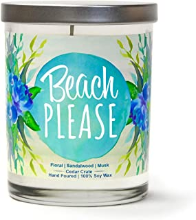 Beach Please   Floral, Sandalwood, Musk   Luxury Scented Soy Candles  10 Oz. Jar Candle   Made in The USA   Decorative Aromatherapy   Beach Gifts for Women or Men   Teal Candles   Beach Candles