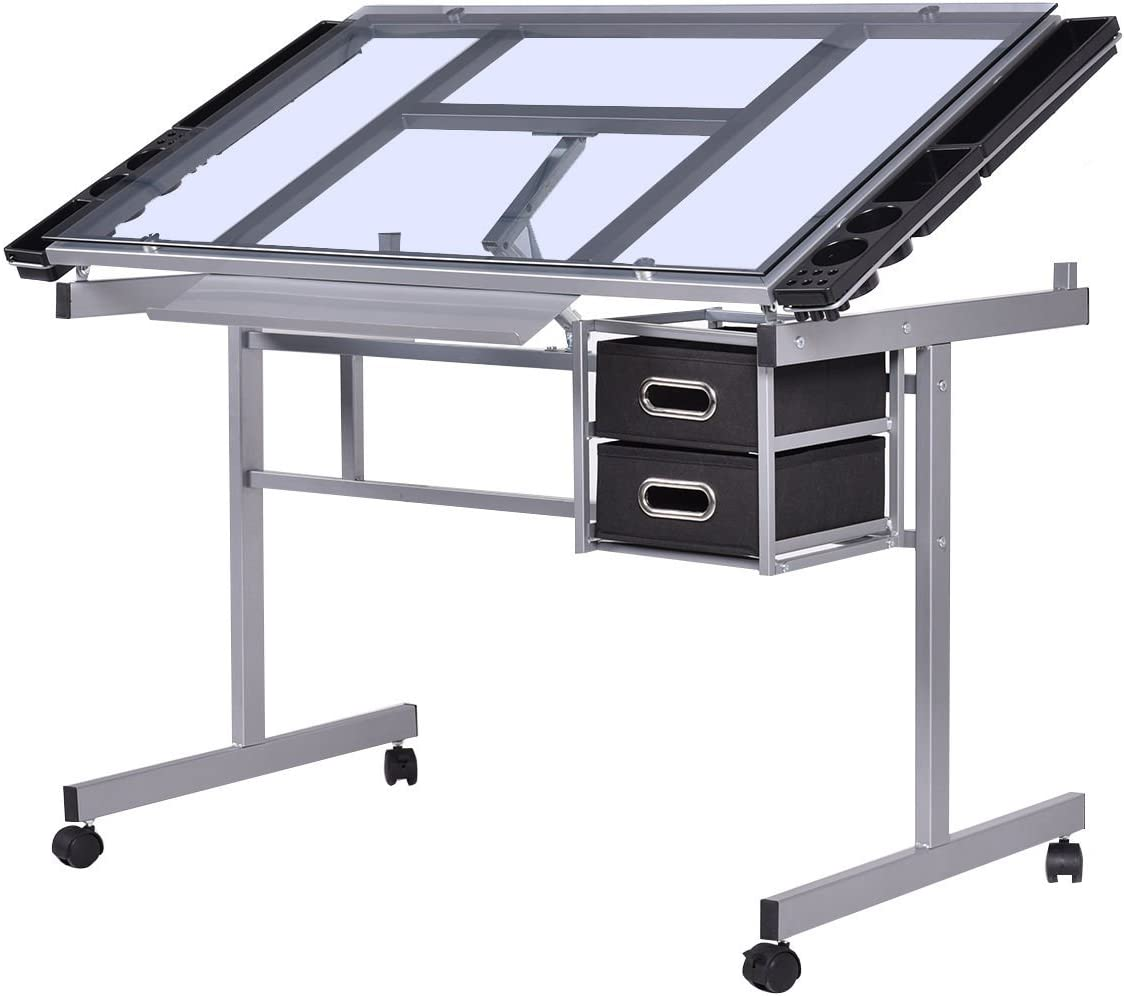 Max 40% OFF Adjustable Drawing Factory outlet Desk Rolling Drafting Glass Top Durable Table