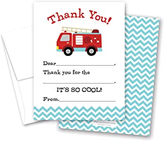 MyExpression.com 20 Cool Fire Truck Kids Fill-in Thank You Cards