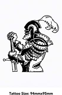 Large 'Knight Holding Sword' Temporary Tattoo (TO00033776)