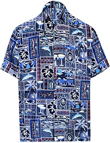 LA LEELA Shirt Camicia Hawaiana Uomo XS - 5XL Manica Corta Hawaii Tasca-Frontale Stampa Hawaiano Casuale Regular Fit Blu Reale1169 XL