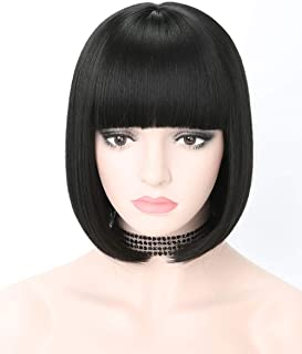 COSYCODE 12 inch Black Bob Wig with Bangs Short Synthetic Cosplay Wigs for Halloween Party Daily Wear