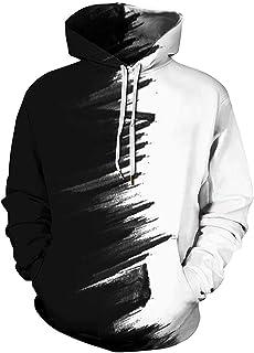 UNIFACO Unisex Felpa Uomo con Cappuccio 3D Stampato Wolf Felpe Donna Divertente Pullover Maniche Lunghe Sweatshirt con Tas...