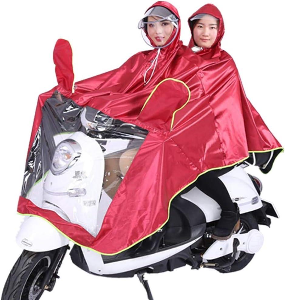 Viviance Impermeable Doble Persona Poncho Impermeable Impermeable De La Lluvia Abrigo Moto Scooter Rain Cape - Vino Tinto