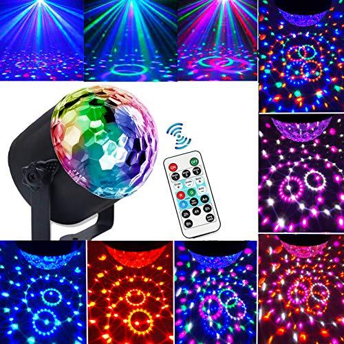 Luci Discoteca, Yizhet LED Mini Luci da Palco Attivazione Vocale palla Lampada 7 RGB Colori KTV DJ Rotante Palla Cristallo Luce di Scena con Telecomando, per Compleanno, Festa, Bar, Club, ecc