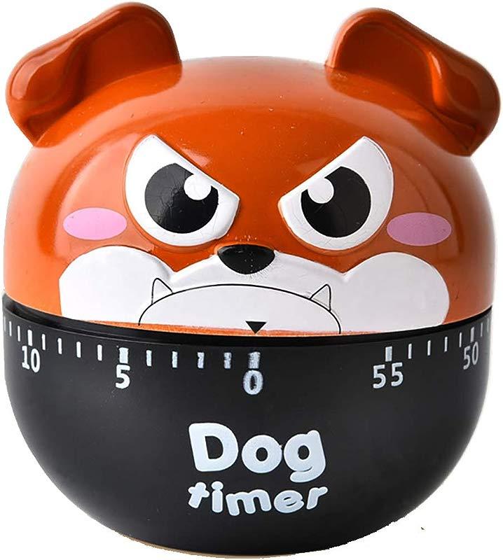 SUKRAGRAHA Cute BullDog Egg Timer 60 Minutes Mechanical Rotating Cooking Kitchen Timer Exercise Study Brown