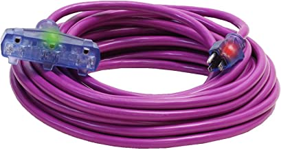 100-Foot 12/3 Heavy Duty Outdoor Lighted Triple Tap Extension Cord Purple - Your Name Printed on Cord