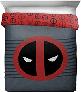 Jay Franco Marvel Deadpool Stripes Full/QueenComforter, Red