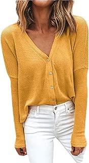 Women Solid Knit Sweater V Neck Long Sleeve Button Cardigan Sweater Outwear