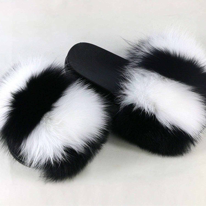 Blingbling-honored High end Fox Fur Slides 2019 Open Toe Sandals Fluffy Slippers Soft Fur Slippers Slip On Sliders Flip Flops Furry shoes Women,6,6