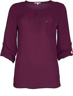 Michel 女士缺口领衬衫 3/4 卷袖休闲雪纺束腰衬衫