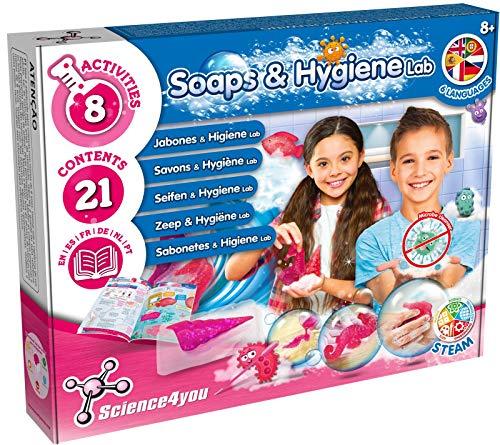 Science4you - Seife Selber Machen Set für +8 Jahre - Macht 7+ Seifen und Glitzerseife mit Seifenform Stern, Chemiebaukasten mit Experimente fur Kinder, Ideal Spiel und Geschenk fur Kinder 8-14 Jahren