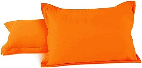 AURAVE Excel Cotton 2 Pieces Plain Pillow Cover Set - 18 X 27 inches, Orange