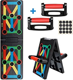Power Press Push Up Bars Board System, 12-in-1 Portable Color Coded Push-Up Stands Board Work Out Equipment for Men Women ...