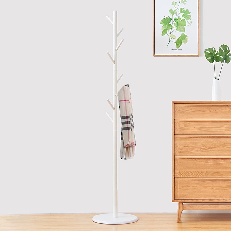 Simple Solid Wood Floor Coat Rack, Assembly 8 Hook, H176cm (color  White color) ( Size   Large )