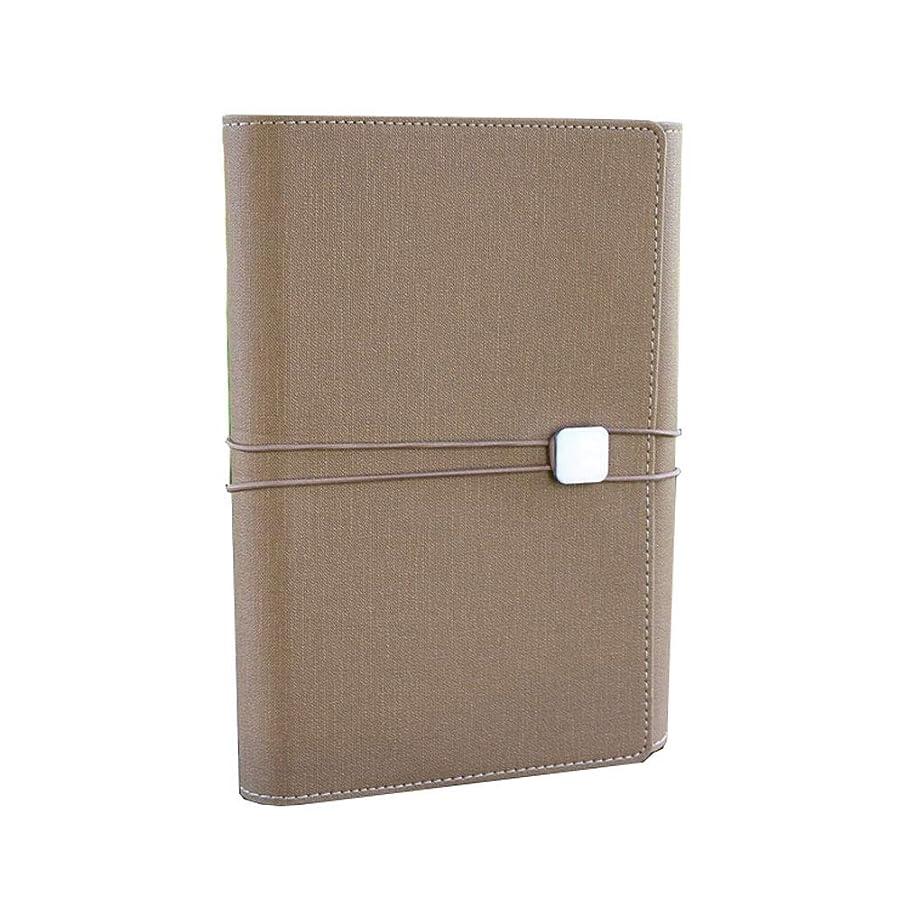 オフィスノート ノートA5多機能三つ折りルーズリーフストラップノートビジネス会議ノート100枚 (Color : Brown, サイズ : 16.8*23cm)