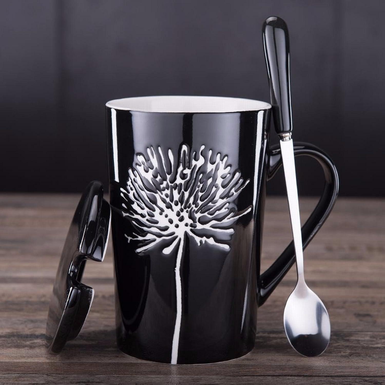 WU-Mug Creativo japonés Tazas de cerámica Pintada a Mano, Minimalista Retro Taza Taza Tapa Cuchara Parejas tazón de Agua 4