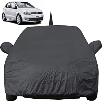 Autofact Car Body Cover for Volkswagen Polo with Mirror and Antenna Pocket (Light Weight, Triple Stitched, Heavy Buckle, Bottom Fully Elastic, Grey)