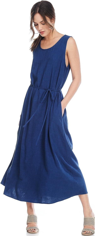 Alexander + David A+D Womens Casual Summer Slvless Waist Tie Linen Long Maxi Dress