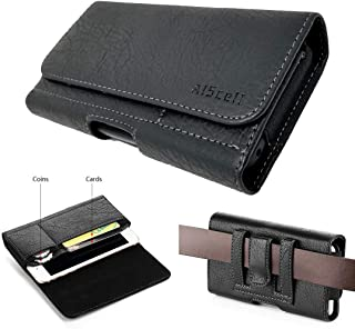 AIScell Wallet Leather Case Pouch for LG Stylo 5, 5v, 5+, G8X ThinQ, Stylo 3, Stylo 4 Plus, Stylo 4, V40 ThinQ, Black Sleeve Pouch Card Slot Belt Holster Fits Phone with Protective Cover Cover on 09