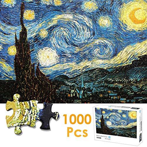 Nasjac Rompecabezas de 1000 Piezas, Van Gogh Starry Night Puzzle Starry Sky Stars Landscape Paper Puzzle para Adultos Niños Adolescentes Familia Educativa Intelectual Descompresión
