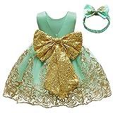 FYMNSI Vestido de fiesta para bebé, para cumpleaños, bautizo, sin espalda, bordado, sin mangas, formal, con cinta para la frente., verde claro, 3-6 Meses