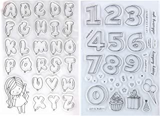بالونات عيد الميلاد من Kwan Crafts 2 ورقتان مختلفان الأشكال وأرقام وكعك أختام شفافة لصناعة البطاقات وتزيين سجلات القصاصات DIY