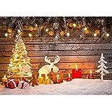 BDDFOTO Fondos de fotografía de Navidad, 1,5 x 2 m Tablero de Madera Vintage Fondos de Navidad Muñec...