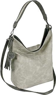 Jennifer Jones Große Schultertasche Eleganter Shopper auch als Crossover Umhängetasche tragbar (Stone)