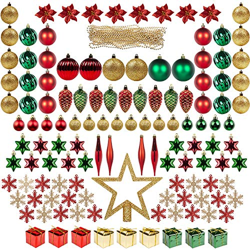 ITART 129ct Christmas Tree Ornaments Decorations Assortment Including Tree Topper Balls Snowflakes Stars Pine Cones Miniature Gift Boxes Poinsettia Beads Garlands Finial (Red, Gold and Green)