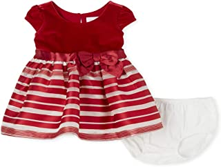 The Children's Place Baby Girls' Short Sleeve Candy Cane Dress, CLASSICRED