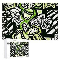 ジグソーパズル 木製パズル 1000ピース Puzzle サボテン柄 英字柄 抽象画 おもちゃ 壁飾り 知育玩具 おもちゃ 壁掛け ギフト スジグソーパズル 減圧 誕生日 プレゼント インテリア 学生 子供 大人 75×50cm 収納ボックス付き