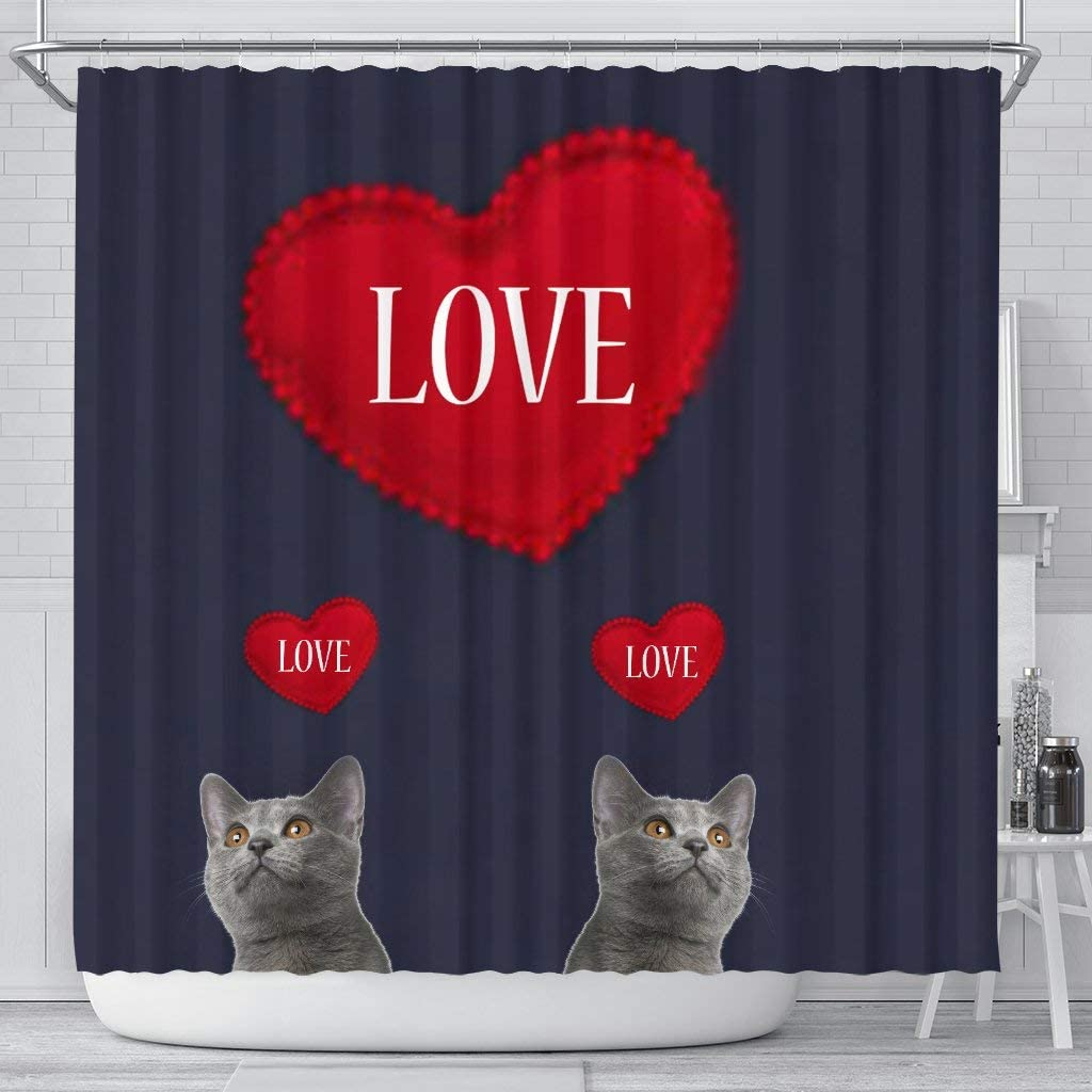 Opening large release sale Pawlice Easy-to-use Chartreux Cat Love Curtain Print Shower