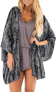 datework Womens Sheer Chiffon Beach Kimono Cardigan Blouse Shawl Loose Tops Outwear