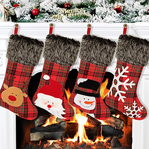 "Aitbay Christmas Stockings, 4 Pack 18"" Big Xmas Stockings, Burlap Plaid Style with Snowflake Santa Snowman Reindeer and Plush Faux Fur Cuff Family Pack Stockings for Xmas Holiday Party Decor"