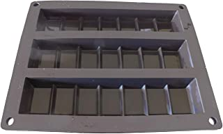 Flat Black 3-CAVITY Silicon Bar Mold for chocolate, protein or candy bars