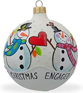 BestPysanky Engaged Snowman Couple Glass Ball Our First Christmas Ornament 4 Inches