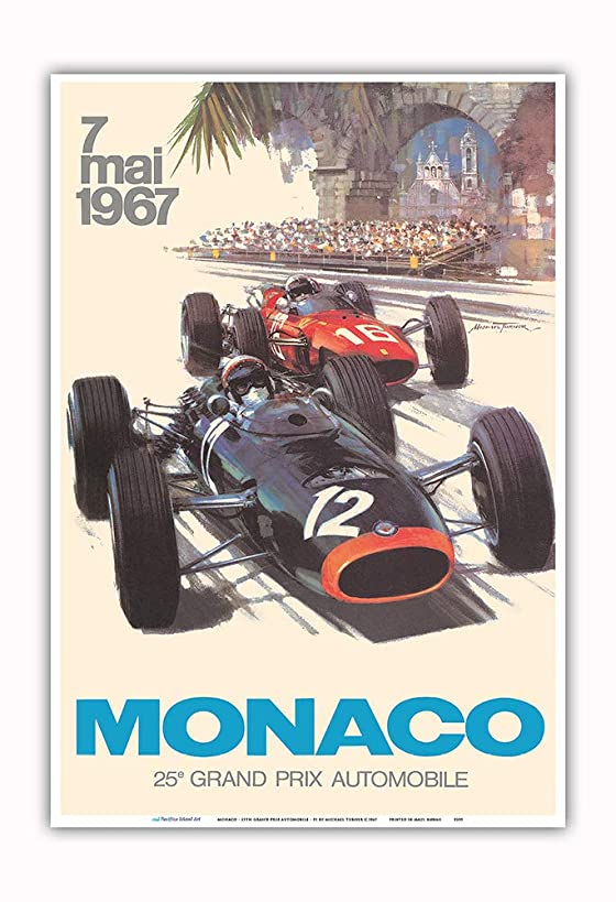 Pacifica Island Art - Monaco - 25th Grand Prix Automobile - Formula One F1 - Vintage Car Racing Poster by Michael Turner c.1967 - Master Art Print - 13in x 19in