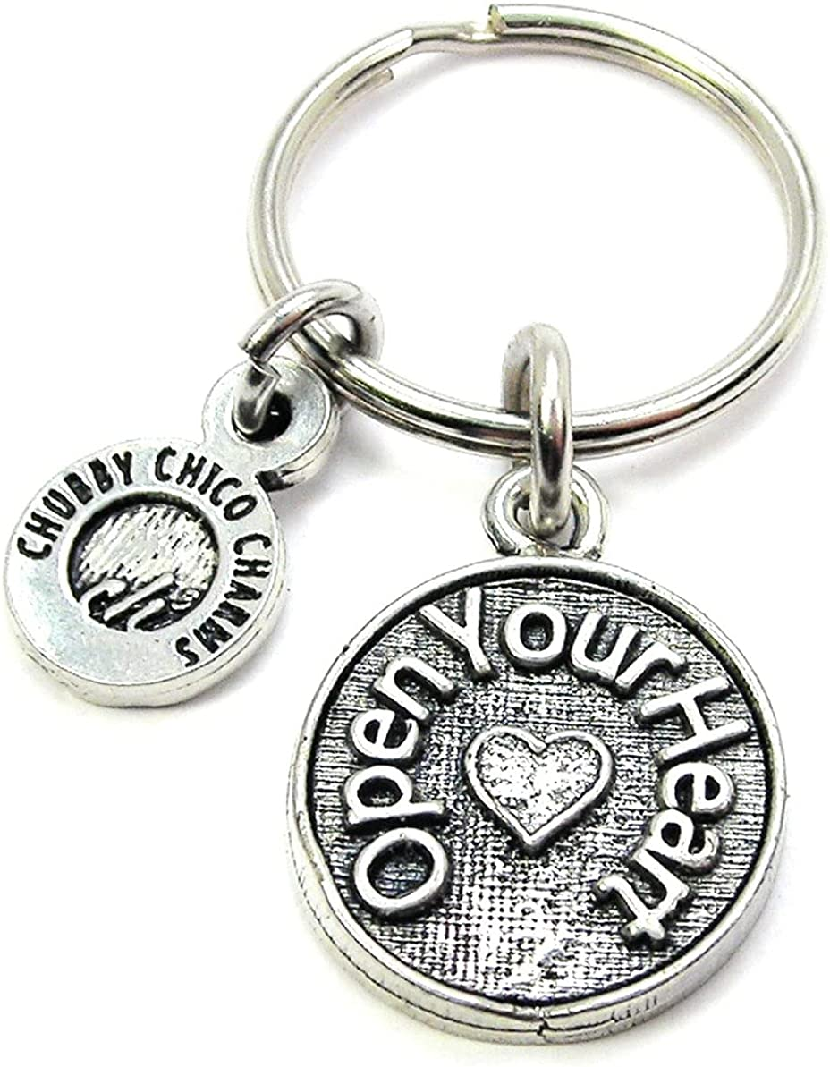 ChubbyChicoCharms Open Your Heart Pewter Charm On Stainless Steel Keyring Key Ring Key Chain Keychain for Women, Men, Teens, Positivity Gift, Present for Inspiration