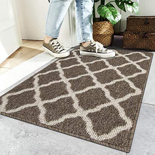 SHACOS Doormat Indoor Outdoor 20x32 inch Front Door Mat Non Slip Waterproof Backing Entrance Rug Washable Dirt Trapper Floor Carpet for Entryway Kitchen Garage, Brown