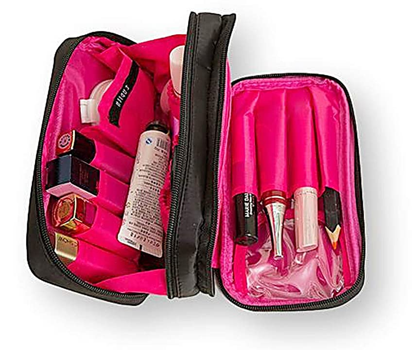 MOFF シンプル コスメ メイク 化粧ポーチ 大容量収納 軽量 機能的 バッグインバッグ コンパクト (ブラック/ピンク)