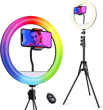 """70 Color RGB Ring Light & Bluetooth Remote   Quntis 12"""" Selfie Ring Light with 63"""" Extendable Tripod Stand & Phone Holder,"""
