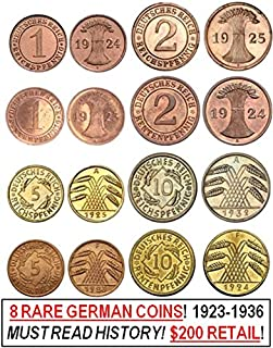 DE 1923 EVERY BRONZE & BRASS REICHS & RENTEN PFENNIG 1,2, 5 & 10 PFENNIG COIN of THE WEIMAR REPUBLIC! 8 DIFF COINS! READ HISTORY! AMAZON SPECIAL 1.99 EACH!! Very Fine to About Uncirculated