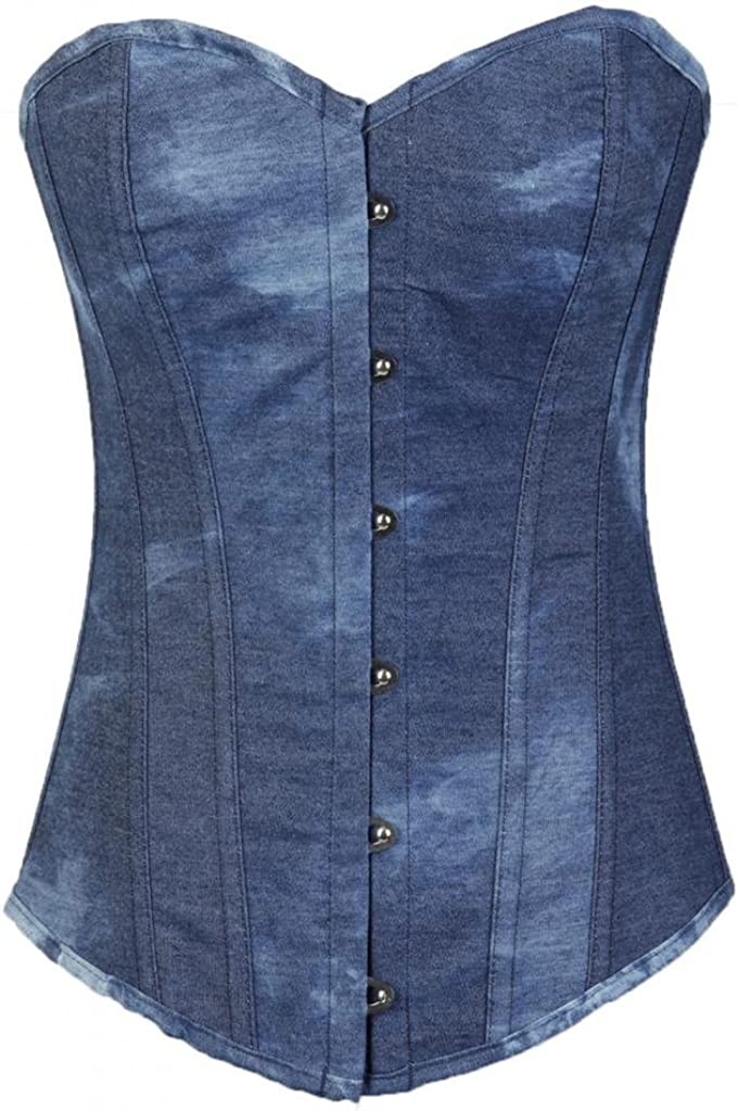 Lotsyle Women's Max 73% OFF Cotton Overbust Corset up Bombing new work Back Lace Bustier